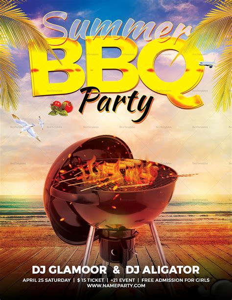 summer bbq flyer design template  word psd publisher