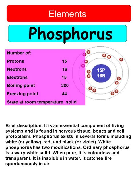 Phosphorus Protons by Hydrogen Elements Number Of Protons 1 Neutrons 0