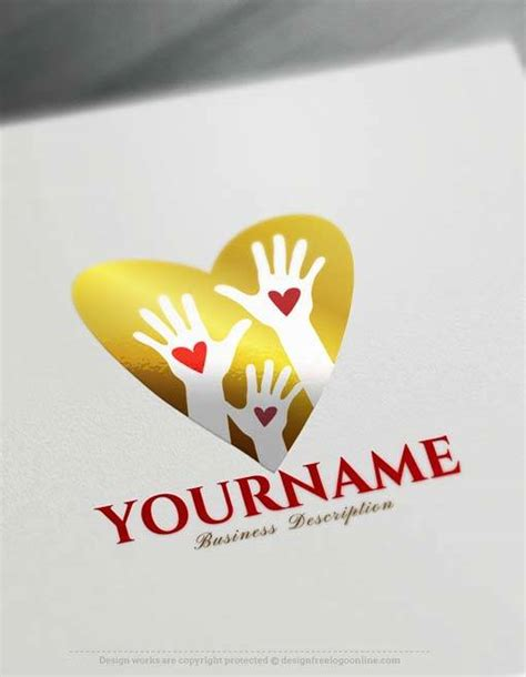 logo creator  heart hands logo design
