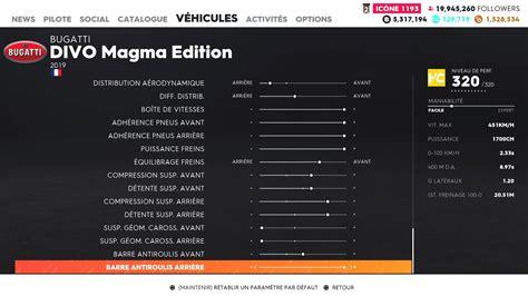 Same as the original veyron. Supercars Gallery: The Crew 2 Bugatti Divo Magma Edition