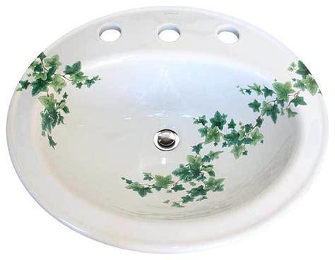 hand painted bathroom sinks ivy hand painted drop in basin traditional bathroom