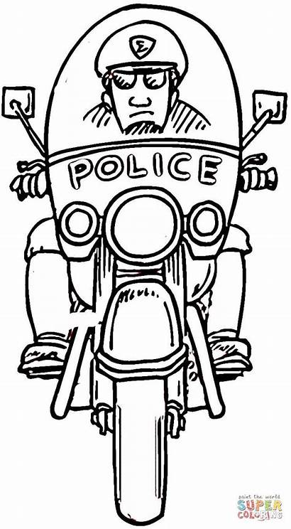 Coloring Pages Policeman Motorcycle Police Officer Printable