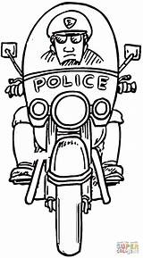 Coloring Pages Policeman Motorcycle Police Officer Printable Drawing Dot Paper Through sketch template