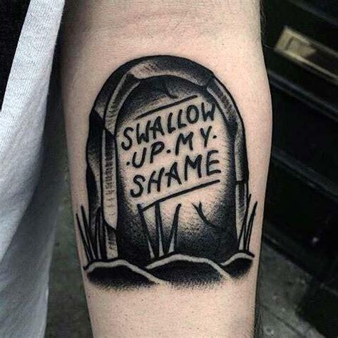 tombstone tattoos  men memorial stone designs