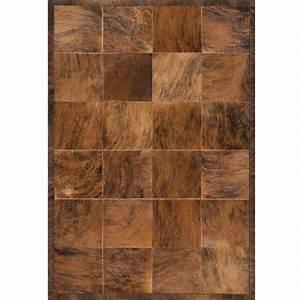 tapis de luxe moderne en cuir marron a carreaux 205 x 285 With tapis de couloir avec canapé cuir vintage marron
