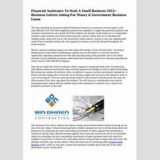 Financial Assistance To Start A Small Business 2012  Business Letter…