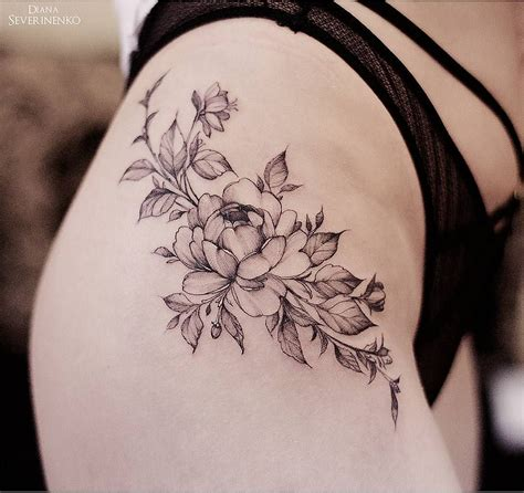 inspired flowers tattoo design  hip  atdianaseverinenko