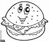 Hamburger Coloring Cheeseburger Printable Template Pages sketch template
