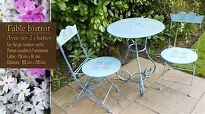 Table Bistrot Pliante : table et chaise de jardin en fer table jardin pliante bois maisonjoffrois ~ Teatrodelosmanantiales.com Idées de Décoration