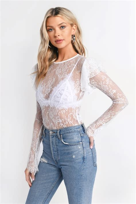 Nickie Double Ruffle Long Sleeve Lace Top in White - $19 ...