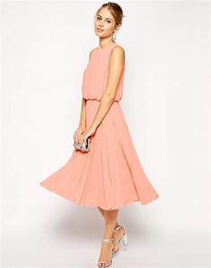 asos midi skater dress with pleated skirt and blouson top With midi length dresses for wedding guest