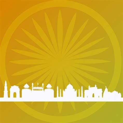 Indian Background Abstract Indian Background With Building Silhouettes