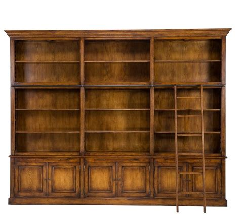 "125"" Long Giordano Bookcase Library Cabinet Solid Oak Wood"