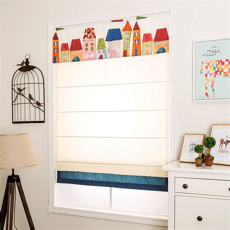 Cute Beige Castle Roman Shades For Kids Room