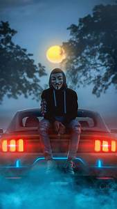 Anonymous Guy And Mustang Iphone Wallpaper