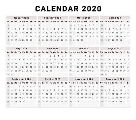 Printable Calendar 2020 Uk