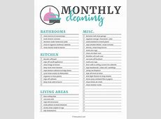 Printable Cleaning Checklists for Daily, Weekly and