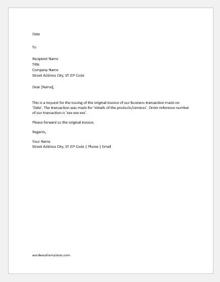 invoice request letters emails word excel templates