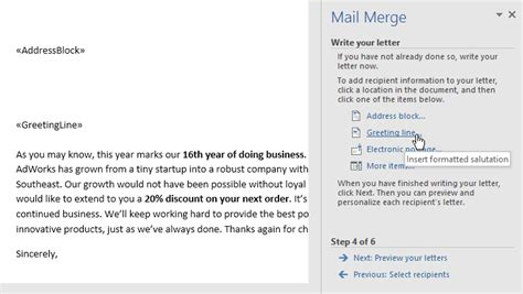 word  mail merge page