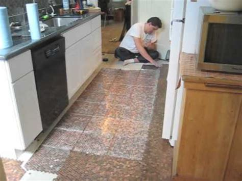 kitchen floor made out of pennies floor 9373