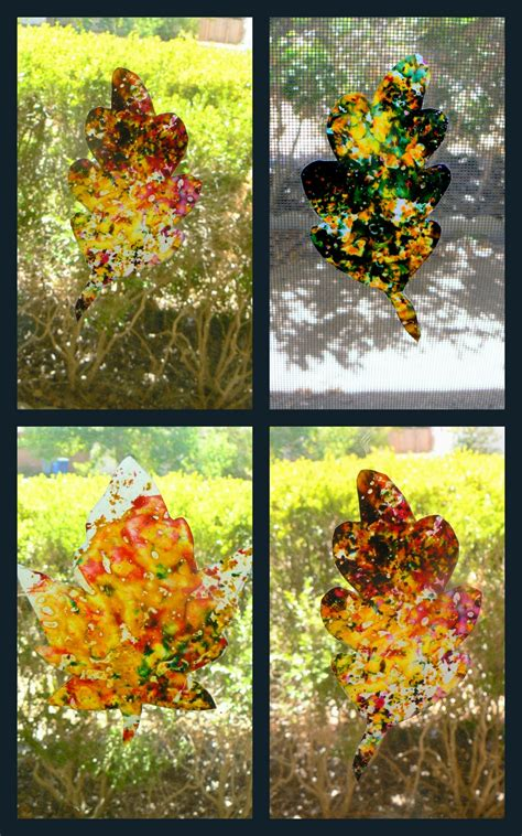 stained glass crayon leaves fun family crafts