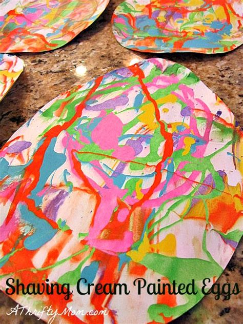 shaving cream painted easter eggs easy art project