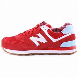 New Balance WL 574 SPW Womens Trainers in Red White