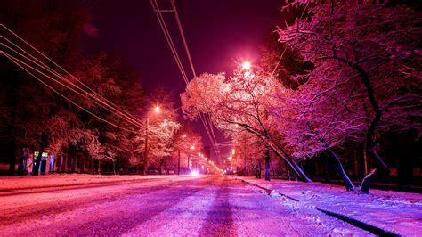 wallpaper  city winter photoshop road