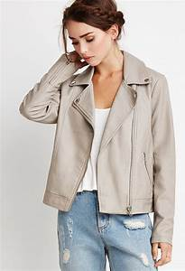 Forever 21 Faux Leather Moto Jacket in Natural - Lyst