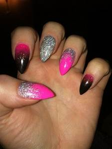 Pink silver black stiletto acrylic nails | My acrylic ...
