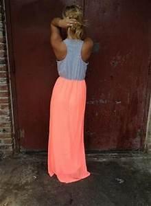 Neon Coral And Grey Maxi Dress Fashion
