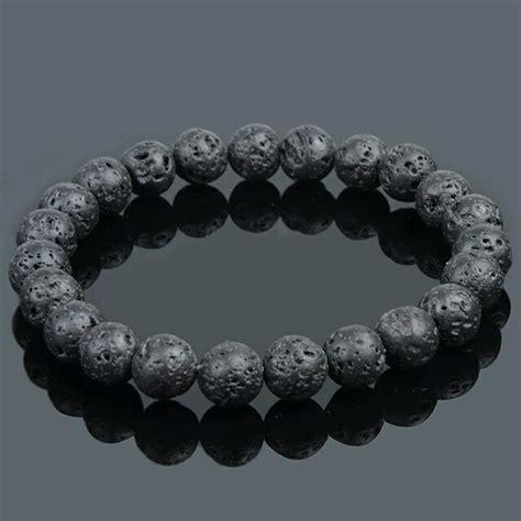 jual gelang batu lava pria hitam di lapak