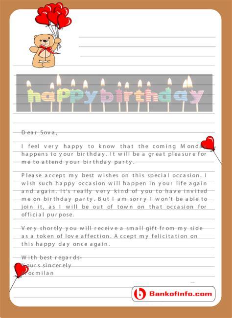 provide  types birthday letter sample format