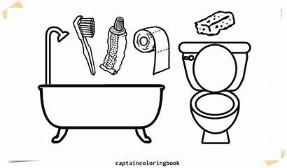 Coloring Toilet Pages Tub Bath Drawing Printable