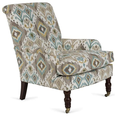 abigail roll arm chair blue ikat contemporary
