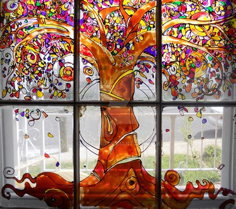 Fenster Bemalen Herbst by Fall Tree Glass Painting By Mjlong On Deviantart
