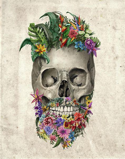 Floral Beard Skull Painting Bekim Art