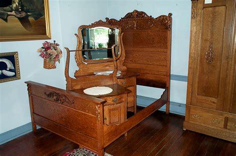 vintage bed set three solid oak bedroom set for sale antiques