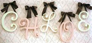wooden cursive wall initial letters monogram for girl39s With cursive wooden letters for walls