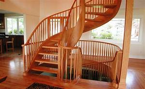 Hand Crafted Graceful Red Oak Two Story Tight Spiral Stair