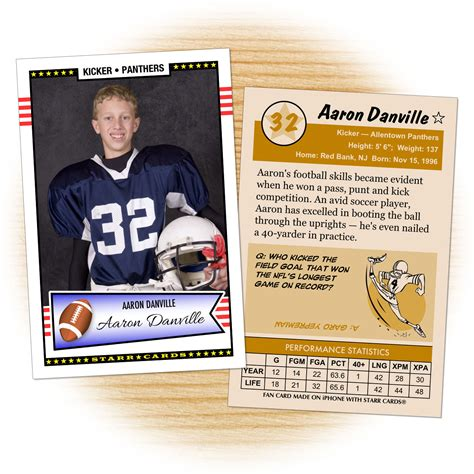 Make Your Own Football Card With Starr Cards