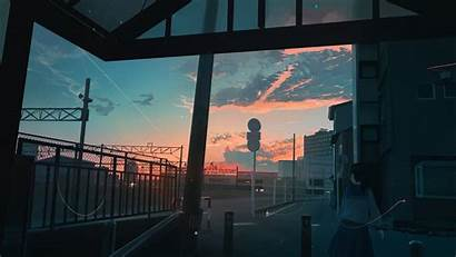 Anime Scenery Sunset Clouds Wallpapers Artwork Desktop