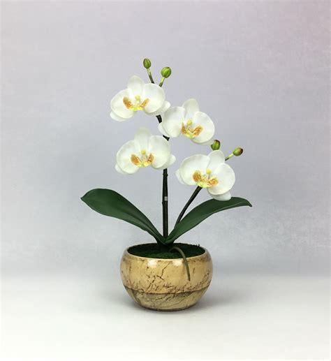 ดอกไม้แต่งบ้าน ดอกกล้วยไม้ปลอม phalaenopsis จัดในกระถางเซรามิคสีครีม สำหรับประดับตกแต่ง
