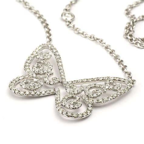 18k white gold diamond butterfly necklace 1 38ct