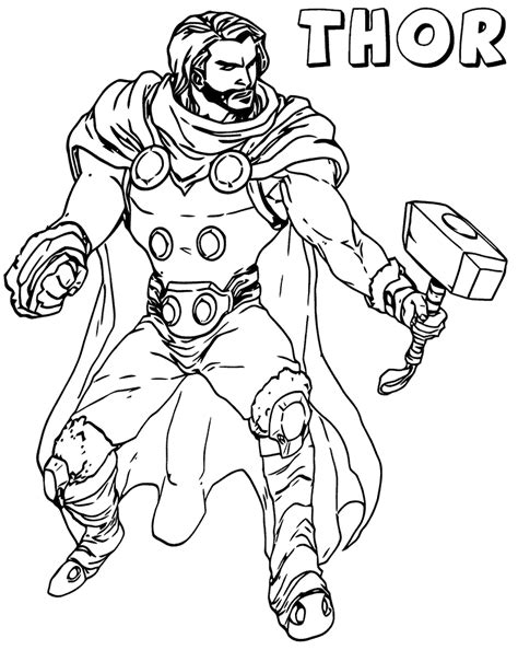 thor  avenger marvel coloring pages