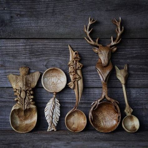 mystical world carved spoons wood spoon carving