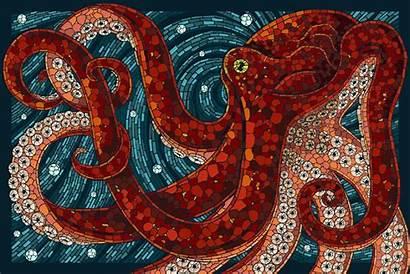 Mosaic Octopus Artwork Designs Nautical Animals Paper