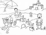 Coloring Beach Sand Castle Vacation Trip Pages Building Summer Printable Christmas Getcolorings Pa sketch template