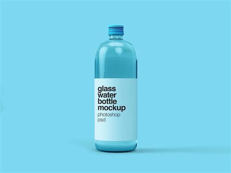 Free for personal and commercial use. Free Glass Water Bottle Mockup (PSD)