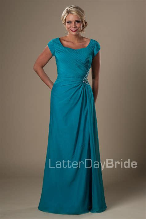 long teal formal beach modest bridesmaid dresses cap
